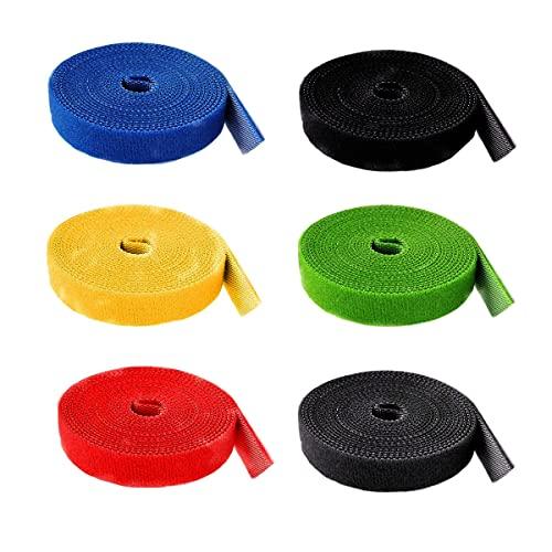 HUAZIZ 6 Rollos Cinta de Gancho y Bucle Sujeta Cables, Cable Reutilizable Corbatas Correa de Cable, Cable Correa Gancho y Lazo Corbatas Envolturas, Organizador...