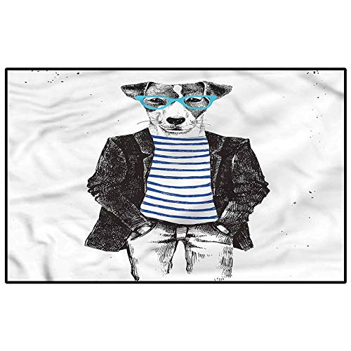 Quirky Bedroom Rugs Patio Rug Rug pad Jack Russell Dog Glasses for Kids Nursery Teens Room Girls Boys Birthday Present 6 x 8.8 Ft