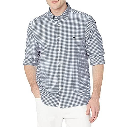 Vineyard Vines - Camiseta de manga corta para hombre, Camisa de rendimiento de cuadros de corte clásico, XL, Blue Bay