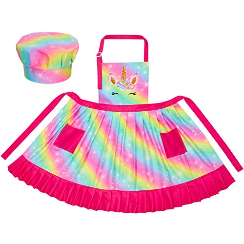 MHJY Kids Apron Hat Set for Girls Pleated Skirt Unicorn Aprons with Adjustable Strap Pockets for Cooking Baking,Rainbow Unicorn,Large (8-12 Years)
