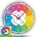 Funtini Kinderuhr-Set  lautlos  Geschenk zur Einschulung | Wanduhr Ø30cm mit Spielzeug-Lernuhr zum Uhr lesen lernen | Geschenk-Idee: Kinderwanduhr groß & bunt für Jungen & Mädchen