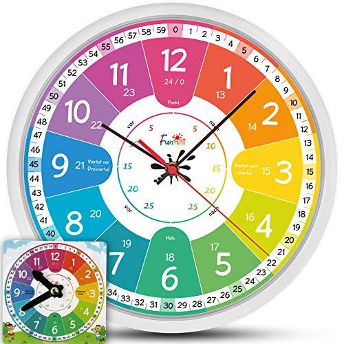 Funtini Kinderuhr-Set ◆ lautlos ◆ Geschenk zur Einschulung   Wanduhr Ø30cm mit Spielzeug-Lernuhr zum Uhr lesen lernen   Geschenk-Idee: Kinderwanduhr groß & bunt für Jungen & Mädchen