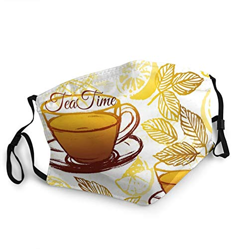 Safety Masks, Ink Hand Drawn Herbal Tea With Lemon Pattern Reusable Adjustable Washable Face Scarf Windproof Dustproof Balaclava Warm Mouth Covers For Outdoor Protection