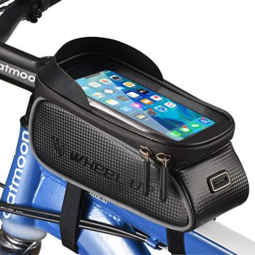 XZSUN Fahrrad Rahmentasche, Wasserdicht Oberrohrtasche Fahrrad Handytasche mit Kopfhörerloch TPU Touchscreen Fahrradtasche Rahmen für Smartphones bis 6,5 Zoll