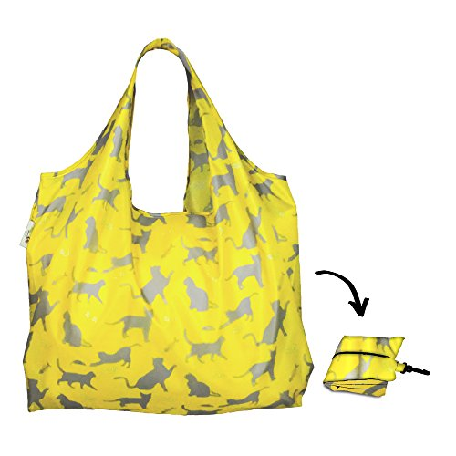 Re-uz Lifestyle XL Sac à main pliable Sac à courses épicerie réutilisable – Happy Cat – Sage