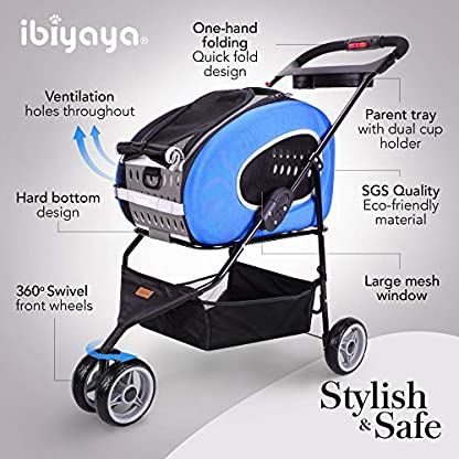ibiyaya Multifunction Pet Carrier + Backpack + CarSeat + Pet Carrier Stroller + Carriers with Wheels for Dogs and Cats All in ONE (Blue) 4