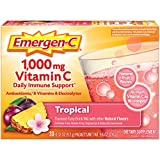 Emergen-C 1000mg Vitamin C Powder, with Antioxidants, B Vitamins and Electrolytes, Vitamin C Supplements for Immune Support, Caffeine Free Fizzy Drink Mix, Tropical Flavor - 30 Count/1 Month Supply