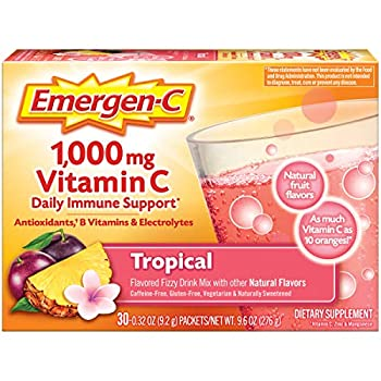 Emergen-C 1000mg Vitamin C Powder with Antioxidants B Vitamins and Electrolytes Vitamin C Supplements for Immune Support Caffeine Free Fizzy Drink Mix Tropical Flavor - 30 Count/1 Month Supply