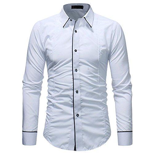 UJUNAOR Mode Männer Shirt Solide Herren Casual Langarmbluse(2XL,Weiß)