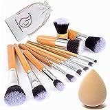 Start Makers 11 unidades Lote de Brochas y Pinceles de Maquillaje con mango de bambú y Esponja para maquillar, incluido el estuche
