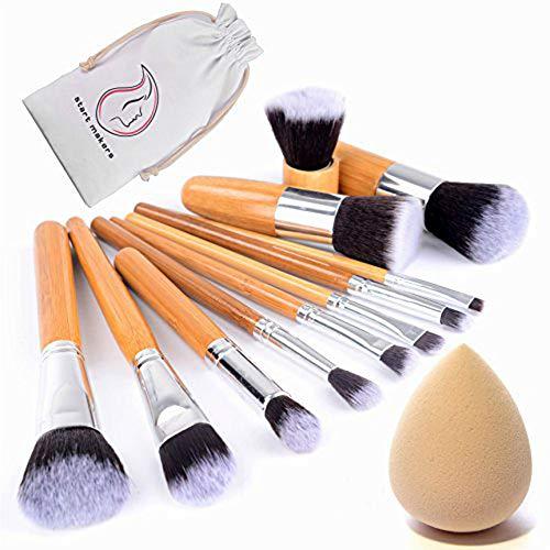 Start Makers Kit de 11PCS Pinceaux Maquillage (pour le teint et les yeux) les yeux très doux avec un manche bambou Pinceau Professionnel & une éponge à fond de teint