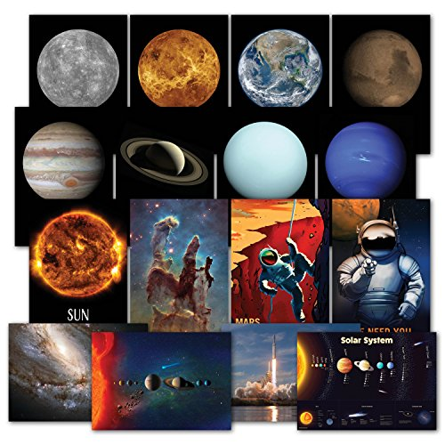 Laminated Solar System Poster Kit - Set of 16 Space Posters of The Planets, Hubble Telescope Photos, NASA Images, Astronomy, Outer Space & Astronaut Wall Art Decor 13 x 19