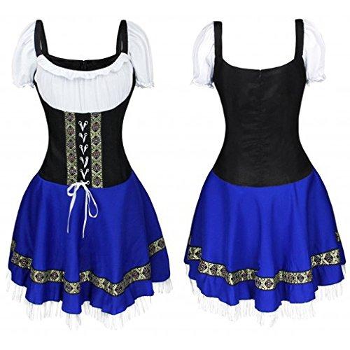 ACHICOO Halloween. Oktoberfest Vestido de Oktoberfest de la muchacha de las mujeres b¨¢varo del traje de las camareras uniforme azul L