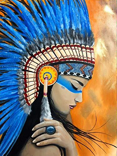 Reofrey 5D Diamond Painting Plumas indias exóticas, Pintura Diamante Bricolaje Completo Taladro Arte, Punto de Cruz Diamantes Bordado Pegatinas de Pared Decoración de La sala (30x40cm)