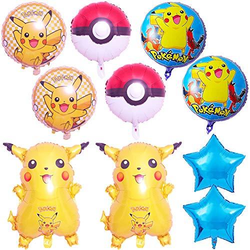 BAIBEI Pokemon Globos Set- 10 Piezas Globo Pokémon Foil Balloons Decoración de fiesta de cumpleaños infantil