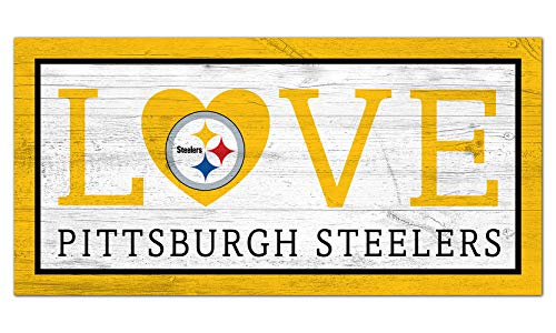 Fan Creations NFL Pittsburgh Steelers Unisex Pittsburgh Steelers Love Sign, Team Color, 6 x 12