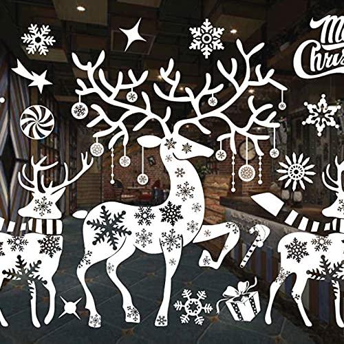 GmeDhc Vinilos Navideños Para Ventanas, Pegatinas Ventana Navidad, Decoracion para Ventanas, blanco Pegatinas Navidad Ventanas Cristal Para Puertas, Escaparates, Vitrinas, Frentes de Vidrio