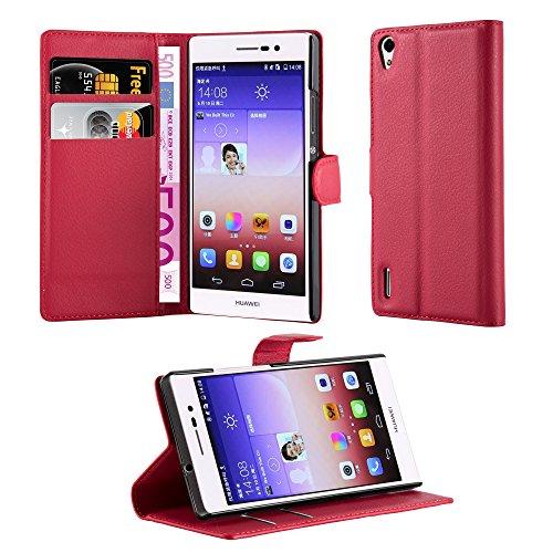 Cadorabo Funda Libro para Huawei Ascend P7 en Rojo CARMÍN - Cubierta...