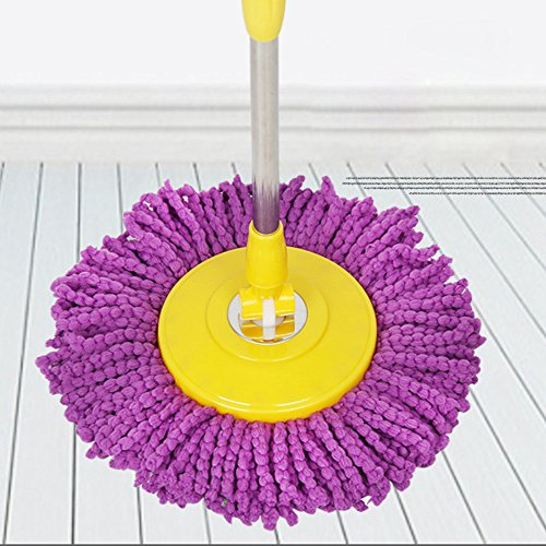 Reemplazo 360 Giratorio Easy Magic Microfibra Spinning Floor Mop Head Morado Suministros de Limpieza para el hogar y el jardín