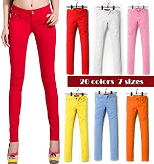 HBEI Fashion Pencil Jeans Woman Candy Colored Mid Waist Full Length Zipper Slim Fit Skinny Women Pants (Wine red,28)