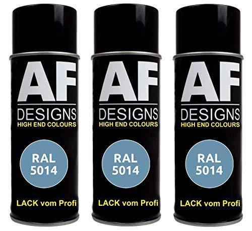 Alex Flittner Designs 3X RAL Lackspray Autolack Buntlack Spraydose RAL5014 TAUBENBLAU seidenmatt