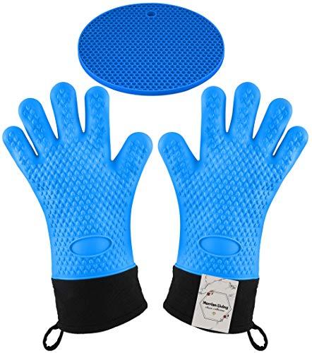 Guantes de silicona para horno – 500 F resistentes al calor con forro acolchado, 3 piezas incluye 2 guantes y 1 alfombrilla para cocinar, hornear, barbacoa, ahumar