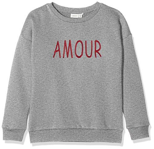 NAME IT Mädchen NKFNASHINA LS Sweat BRU Sweatshirt, Grau (Grey Melange Grey Melange), 158 (Herstellergröße: 158-164)