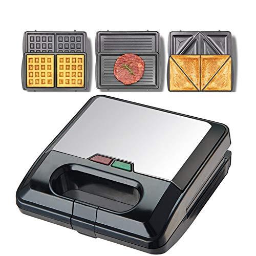 3 in 1 Sandwich Maker, UMYMAYDO1 Elettrico Waffle Maker Doppio Rivestimento Antiaderente, 3 Piastre Rimovibili, per Veloce Colazione Panini Cucina Domestica Frittelle, 750W EU