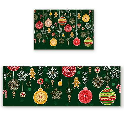 Olivefox 2 Pieces Microfiber Non-Slip Washable Floor Mat for Kitchen, Christmas Lantern Cookie Illustration Doormat Durable Soft Anti Dirt Runner Carpet Set for Home Decor