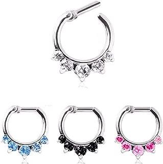 WildKlass Jewelry Septum Ring Clicker 316L Surgical Steel Gemmed Princess Septum Clicker 16g 14g (14g 1/4