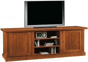 InHouse srls Mobile Porta TV,Arte povera,in Legno massello e MDF con rifinitura in Noce Lucido - Mis. 46 x 160 x 56