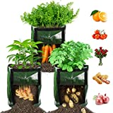 【3 Pack】 Potato Grow Bags, Plant Grow Bags 7 Gallon Heavy Duty Thickened Growing Bags Planting Pots Container Garden Vegetable Planter with Handles & Large Harvest Window