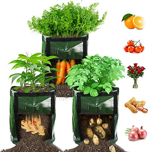 【3 Pack】 Potato Grow Bags, Plant Grow Bags 7 Gallon Heavy Duty Thickened...