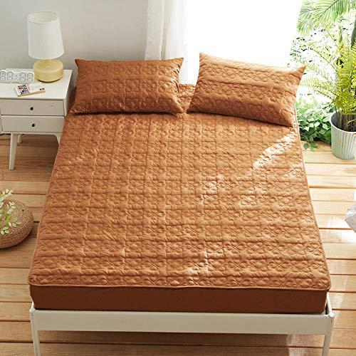 HPPSLT Protector de colchón/Cubre colchón Acolchado, antiácaros, Sábana de Cama de algodón Espesa-Café Color_150 * 200cm