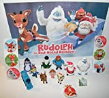 Party Fun Rudolph The Red Nosed Reindeer Toy Figure Set of 10 with The Misfit Toys, Monster Bumble, Santa and More and a Special Holiday Eraser, Tattoo and 6 Stickers!