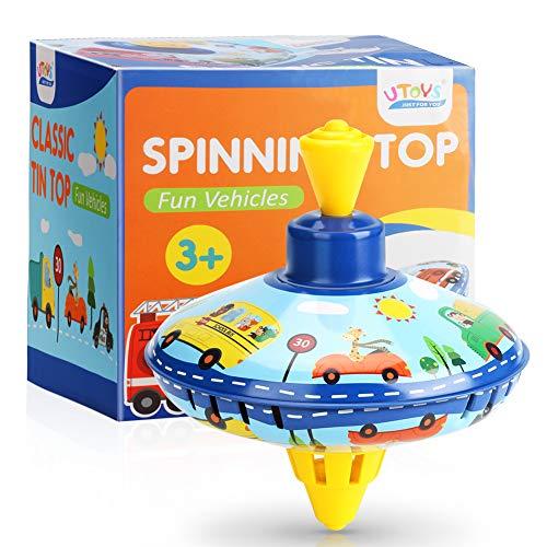 CestMall Spinning Top Toy, clásico trompo Educativo para niños, Colorido Juguete con diseño de patrón de Coche, Apto para niños de 3 años o más