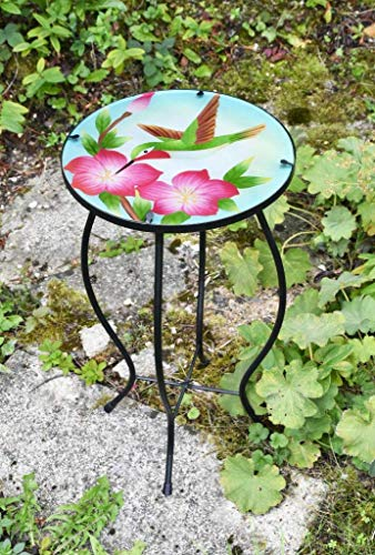 Iron/Glass Round Mosaic Design Side Table Garden Outdoor Patio Flower Plant Stand (Colibri)