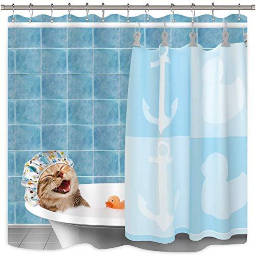 EdCott Katze Duschvorhang lustige niedliche Tier Bad Lächeln Lächeln Duschhaube blau grün ozeanblau Bad Gummiente Bad Bad Wohnkultur Stoff leicht zu Duschvorhang zu reinigen