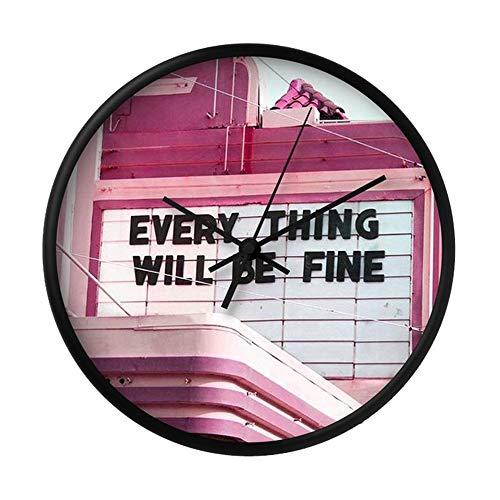 Alice_Home_Collect Wall Clocks Every Thing Will Be Fine Wanduhr, geräuschlos, tickt nicht – 25,4 cm