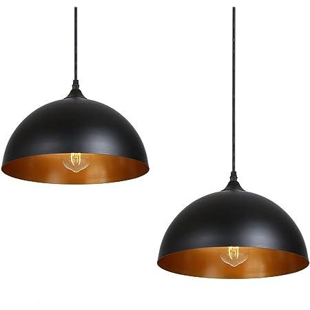 Tomshine Lot de 2 suspensions rétro en métal - Style industriel vintage - Diamètre : 30 cm - Noir