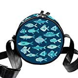 Bandolera redonda para mujer, bolsa de hombro, diseño de pez, color azul