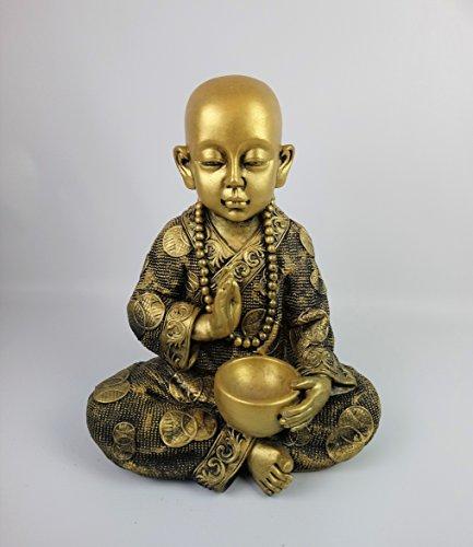 Bouddha enfant de Pierre, pour jardin. Couleur or. Mod tycooro. 37 cm Hauteur. 13 kg