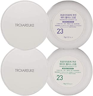 TROIAREUKE A+ and H+ Cushion Set 23, Korean Foundation Makeup for Acne-Prone Sensitive Skin Healing