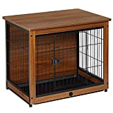 Wooden Dog Crate, Indoor Cat House Furniture Large Dog cage End Table Dog Kennels and Crates, Indoor Outdoor with Door and Lock, Easy Assembly for Dog Cat Rabbit (L, Light Brown)