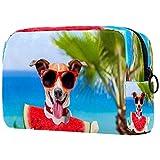 Jack Russell - Bolsa de maquillaje para perro en hamaca de playa, bolsa de maquillaje, organizador portátil de viaje, para niñas, mujeres