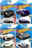 Hot Wheels Designed Sport Cars Bundled with Die-Cast Porsche Panamera Turbo & Lamborghini Huracan + Carrera Black & 911 GT3 RS Purple Racer 4 Item