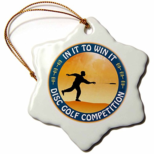 3dRose LLC Disc Golf Competition in It to Win It with Frisbee Disc Golf Player Throwing A Shot 3-Inch Snowflake Porcelain Ornament