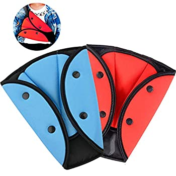 2 Pack Seatbelt Adjuster for Kids Adults WenMei Auto Shoulder Neck Strap Adjuster Car Seatbelt Safety Cover Triangle Positioner for Children Baby Adult Soft and Breathable  Blue + Red