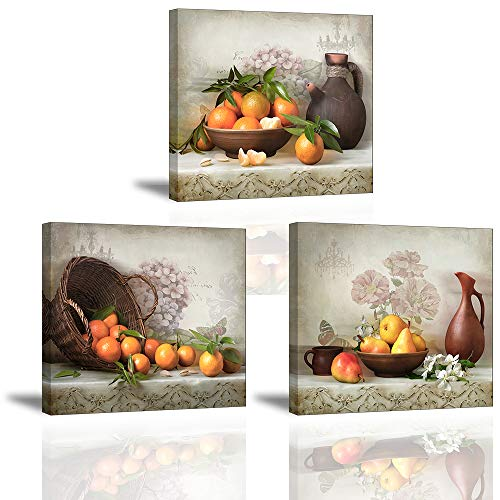 Piy Painting 3X Quadro su Tela Stampa Disegno su Tela Canvas Impermeabile Quadro Moderno Gioia del Raccolto Frutta Arancione Décor per Camera da Letto Soggiorno Camera da Pranzo Cucina 30x30cm