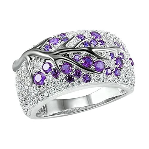 Houtian Anillo de compromiso de eternidad para mujer, anillo cuadrado de diamante, anillo de matrimonio, propuesta de temperamento en forma de diamante para mujer, Mujeres, HOU, morado, 5